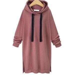 Dresses & Skirts - Hot Pink Sweatshirt Midi Dress